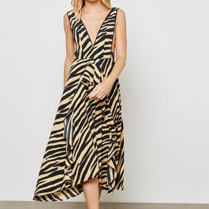 TOPSHOP Zebra print Pinafore Ruffle Dress
